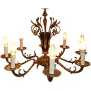 Vintage Spanish Brass Chandelier 8 Arms