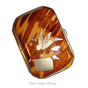Antique Tortoise Shell coin case wallet Silver Inlay. - Red Tag Sale Item