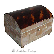 Antique Tortoise Shell & Mother of Pearl Ring Box Faux Tortoiseshell Jewelry Casket.