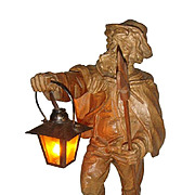 "Black Forest Wooden Table Lamp "" The Night watchman "" Figurine."
