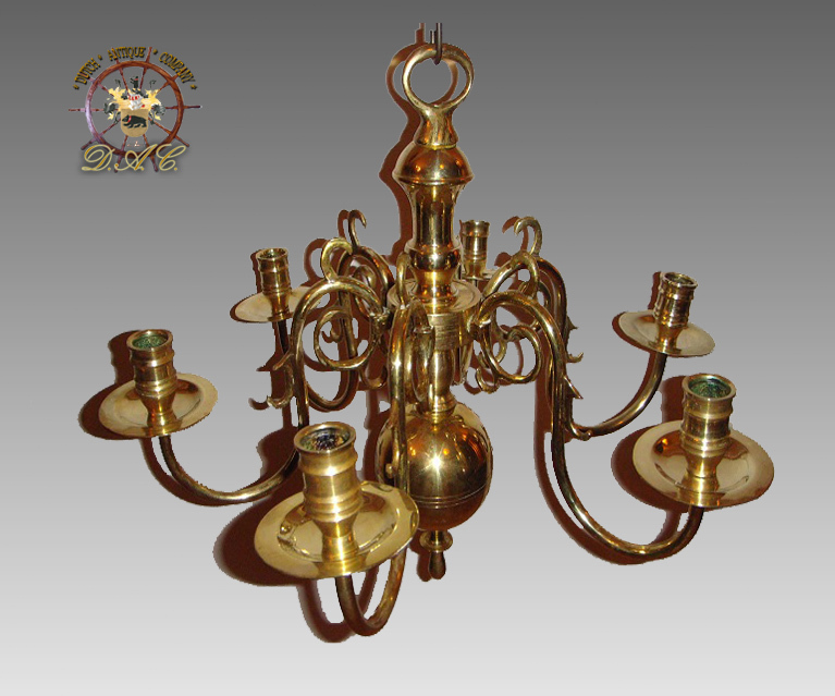 Six Light Brass Candle Chandelier Dutch 19th Century Red Tag Sold Ruby Lane