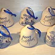 Dutch Delfts Blue Porcelain Christmas Tree Ornaments Bells.