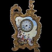 Antique Miniature Enamel Dore Bronze Clock - French