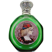 Antique French Green Glass Limoges Enamel Plaques Perfume Bottle Sterling Lid
