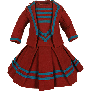 Wonderful Antique Sherry Red Cashmere Wool French Two-Piece Costume for JUMEAU, BRU, STEINER other French Bebe