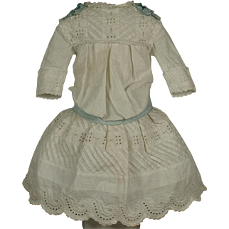 Beautiful Antique Original French Cutwork Dress circa 1890's for JUMEAU, BRU, STEINER other French Bebe