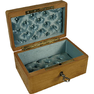 """Antique French Small 4 1/2"""" (11,5 cm) Wooden Casket Napoleon III era, French circa 1865-70's, for French Fashion Dolls or French Bebes"""