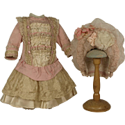 Wonderful Antique Silk French Couturier Costume and Bonnet for JUMEAU, BRU, STEINER other FRENCH BEBE