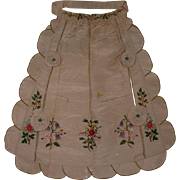 18th Century Polychrome silk Embroidered Apron, English Needlework circa 1730-50