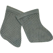 Antique French Blue Open Weave Cotton Socks for Jumeau, Bru, Steiner other French Bebe