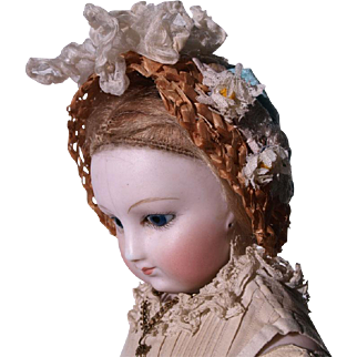 Wonderful Antique Straw Bonnet for Huret, Rohmer other French Fashion Doll circa 1860-70's
