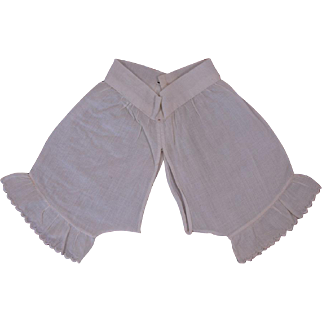 Antique circa 1880's Small French Bebe Muslin Pantaloons for Jumeau other French Bebe