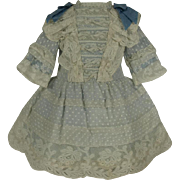Wonderful Antique Dotted Muslin French Bebe Dress for Jumeau, Bru, Steiner other French Doll