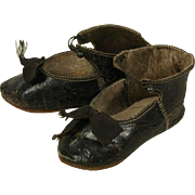 Antique Original Black Kid Leather French Bebe Shoes for Jumeau, Steiner other French Doll circa 1880's