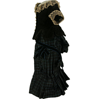 Beautiful Antique Original French Fashion Doll Costume circa 1880's