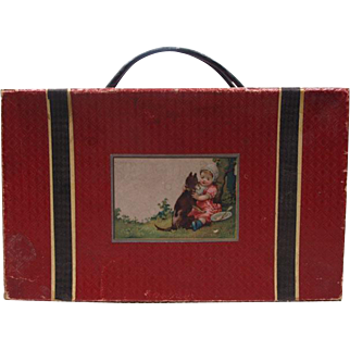 Beautiful Antique Original Red Wooden French Bebe Costume Presentation Box French circa 1890's