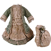 Wonderful Antique Aqua Silk Satin French Couturier Dress and Bonnet for Tiny Jumeau, Bru, Steiner other French Doll