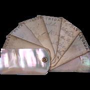Very Rare Antique Original Miniature Mop Ox Bone Chatelaine Dance Card 6 Days Book circa 1860's