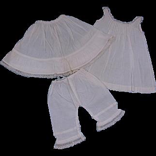 Antique Original French 3 Pieces Underwear circa 1890's for Jumeau, Bru, Steiner other French Bebe