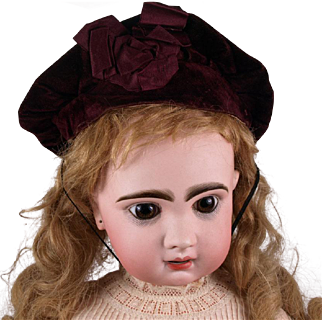 Rare Antique Original Silk Velvet French Bebe Cap circa 1880's