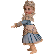 Marvelous Antique Blue Silky Cotton Sateen Small French Bebe Dress and Bonnet for Tiny Jumeau, Bru, Steiner other French Bebe