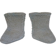 Antique Original French Aqua Open Weave Cotton Socks for Jumeau, Bru, Steiner other French Bebe circa 1890's