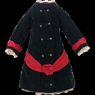 Antique Original circa 1880 French Bebe Silk Velvet Coat Dress for Jumeau, Bru, Steiner other French Bebe