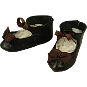 Antique Original Black Kid Leather French Bebe Shoes for Jumeau, Bru, Steiner other French Doll