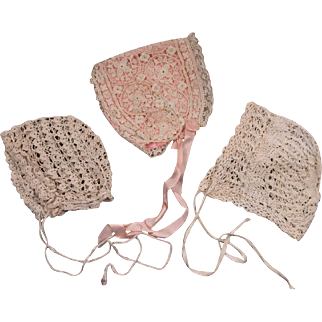 Lovely Antique Original Small Bonnets for French Bebes circa 1890's