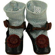 Antique Original Black Kid Leather French Bebe Shoes and Socks for Tiny Jumeau, Bru, Steiner other French Doll