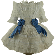 Marvelous Antique Original Muslin French Bebe Dress circa 1880 for Jumeau, Bru, Steiner other French Bebe