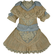 Wonderful Antique Original French Valenciennes Lace Bebe Dress for Jumeau, Bru, Steiner other French Doll