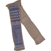 Lovely Antique Original Cotton Crocheted Fingerless Gloves for Girl's or Larger Antique French Bebe circa 1880's