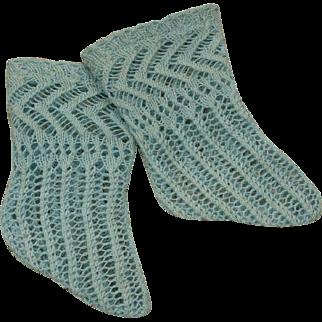 Beautiful Antique Original French Aqua Open Weave Cotton Socks circa 1880's