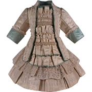 Marvelous Antique French Silk Satin Couturier Costume for Jumeau, Bru, Steiner other French Bebe