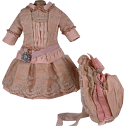 Marvelous Antique French Rose Silk Bebe Dress and Bonnet for Jumeau, Bru, Steiner other French Bebe