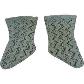Antique Original French Aqua Open Weave Cotton Socks circa 1880's for JUMEAU, BRU, STEINER other French Bebe