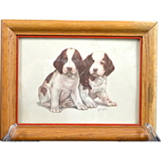 50′s Vintage Pointer Puppies Print Signed by Artist Grace Lopez