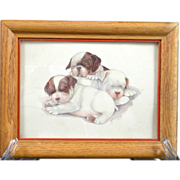 50′s Vintage Sleeping Puppies Print Signed by Grace Lopez