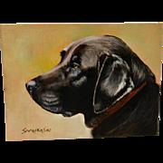 Original Oil -on- Canvas Portrait of a Black Labrador Retriever Dog by Saarikoski c.1990