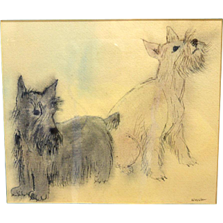 Original Wooster Ink & Watercolor Painting of Schnauzer Dogs
