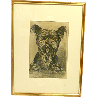 Vintage Framed Skye Terrier Etching on Silk
