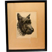 Vintage Scottish Terrier Dog Portrait Signed Kurt Meyer-Eberhardt