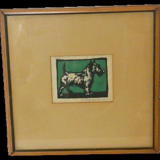 Vintage Arts & Crafts Scottish Terrier Dog Block Print Signed and Framed