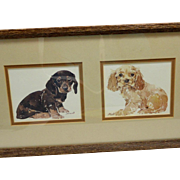 Framed L.K. Powell Puppie Prints Dachshund and Cocker Spaniel c. 1980's