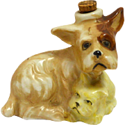 Occupied Japan Terrier Dog and Puppy Decanter/Perfume Bottle