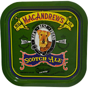 Vintage MacAndrews Scotch Ale Beer Tray with Airedale dog