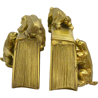 Vintage Brass PM Craftsman Cocker Spaniel Dogs Bookends c. 1930 Rare
