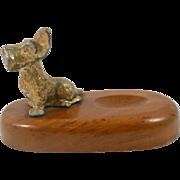 Vintage McDonald Walnut & Brass Scottish Terrier Pipe Holder