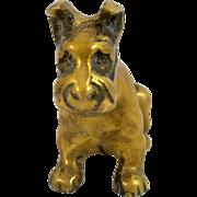 Vintage Solid Brass Schnauzer Dog Paperweight